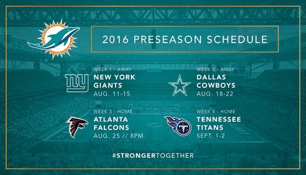 2016 Dolphins Preseason Schedule