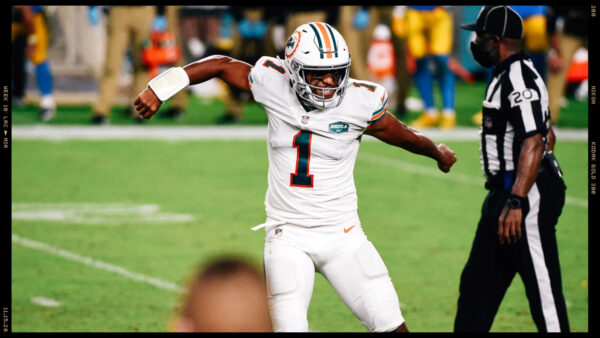 Tua celebrates another Dolphins victory and this one over the LA Chargers to make it 5 wins in a row