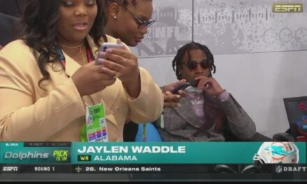 ESPN TV Feed of the Dolphins Selecting Jaylen Waddle Thursday Night